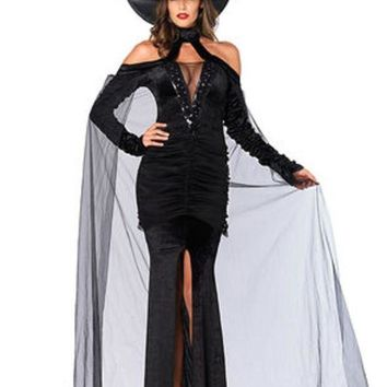 ESBI7E 2PC.Sultry Sorceress,velvet dress w/attached cape,witch hat in BLACK