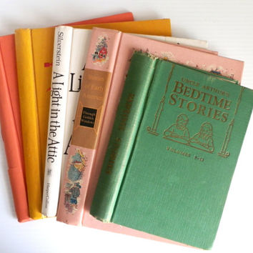 5 vintage book covers . vintage gutted books . pastel book covers for journal making . journaling supplies . gutted hardcovers art journals