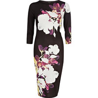 River Island Womens Black floral oriental print column dress