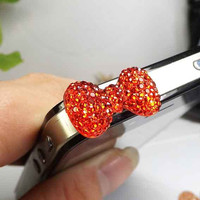 3 Colors Cute Resin Crystal Bowknot Dust Plug - 3.5mm Dust Stopper Earphone Cap Dustproof Plug Charms for iPhone 4 4S 5 HTC, Samsung