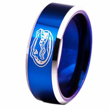 Free Shipping Customs Engraving Ring Hot Sales 8MM Blue With Shiny Edges Gators Design Men's Fashion Tungsten Wedding Ring