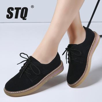 STQ 2017 Autumn women sneakers oxford shoes flats shoes women leather suede lace up bo
