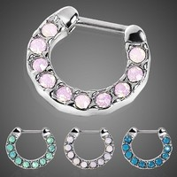 316L Surgical Steel Opalite Stone Septum Clicker