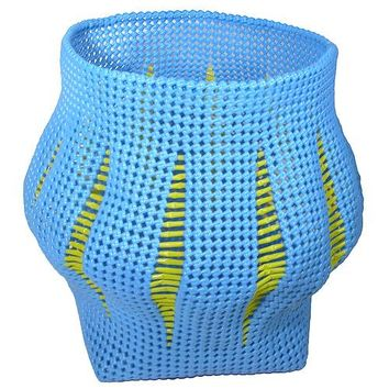 Recycled Blue Plastic Wastebasket from India
