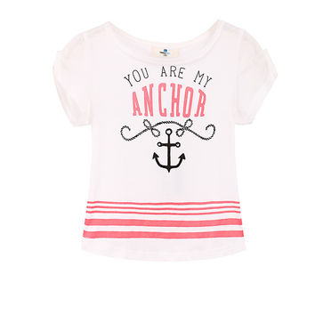 2016 Summer style Brand Children's clothing Letters printing Pink Stripe short sleeve t-shirt for girls skin-friendly cotton