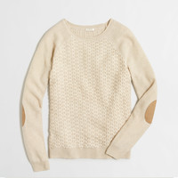 Factory textured knit raglan sweater with elbow patches