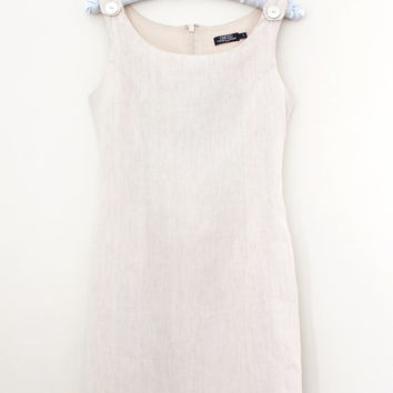 Vintage '90s Linen Shift Dress - Light Grey Mini Skirt Sleeveless Dress - Size XS to Small