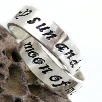 My Sun and Stars, Moon of My Life Sterling Silver Rings - Dothraki wedding, engagement or promise rings, Game of Thrones Inspired
