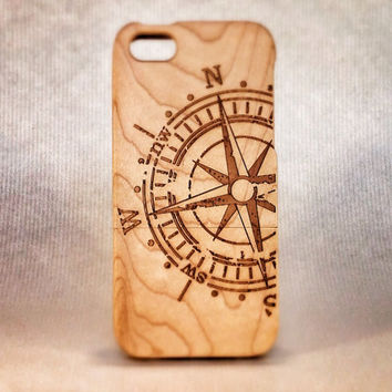Eco Friendly Wooden Case for iPhone 5 and 5S -Compass-