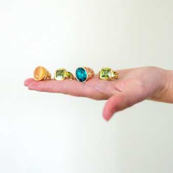 vtg costume jewelry brass rings, vintage 1970s 1980s 1990s faux gemstone, colorful, urban outfitters tumblr fashion, aesthetic soft grunge