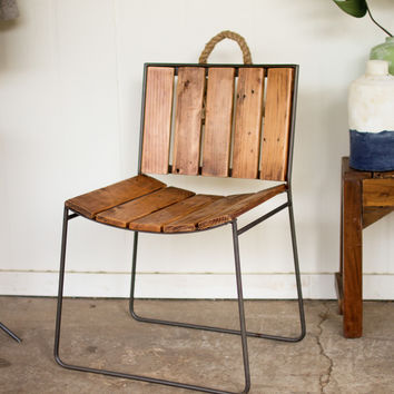 Iron and Reclaimed Wood Dining Chair