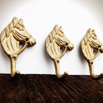 3 Little Horse Wall Hooks - Shimmering Metallic Gold Cast Iron - Nursery French Country