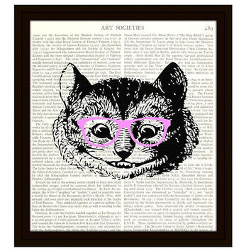 Cheshire Cat in Pink Glasses Alice in Wonderland Dictionary Art Print 8 x 10