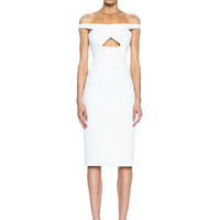 Neoprene Off the Shoulder Dress in Ivory
