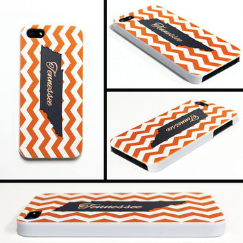 iPhone 5 5s Cell Phone Case Tennessee Orange White State Knoxville Chevron Apple Personalized Protective Plastic Hard Cover VM-1019
