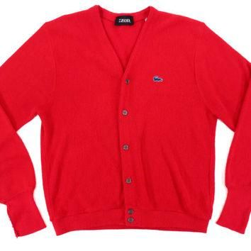 Vintage Izod Lacoste Cardigan in Red - Sweater V Neck Jumper Ivy League Menswear - Men