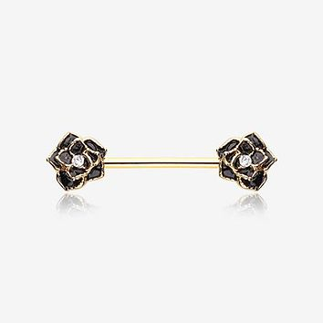 A Pair of Golden Rose Sparkle Nipple Barbell Ring