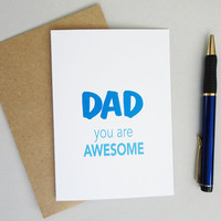 Fathers day card for awesome dads blue print card blank inside