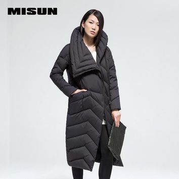 MISUN 2017 loose oblique zippers bow big stand collar solid thickening down coat X-Long straight womens winter jackets MSD-G771