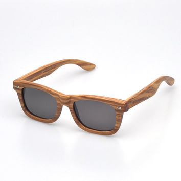 Wood Sunglasses - Eco-Friendly Zebra Wayfarer Wood Sunglasses | Hand Made from Zebrawood | Polarized Lenses