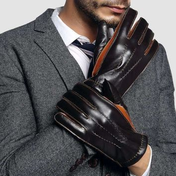 2018 NEW Genuine Leather Gloves Male Two Colors Patchwork Men Sheepskin Gloves Autumn Winter Cashmere Lined Driving Glove 2805