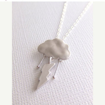 Cyber Monday Sale Silver Storm Jewelry Necklace, Simple Everyday Jewelry, Raindrops, Cloud, Lightning Bolt