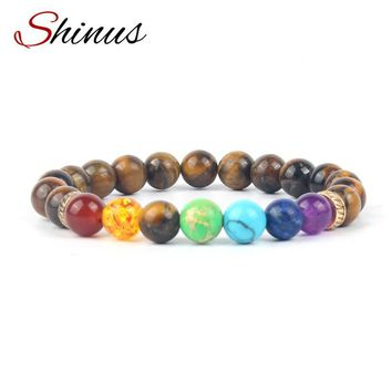 Shinus Bracelets Men Jewelry 7 Chakra Bracelet Women Reiki Prayer Meditation Natural Stone Beads Healing Tiger Eye Buddhist 2017