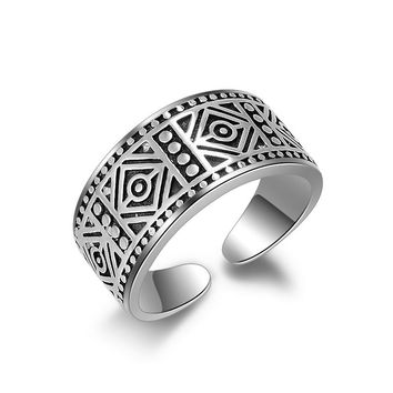 JEXXI 2017 Fashion Men's Ring Vintage Beach Punk Ring Ethnic Carved Antique Silver Color Finger Ring Knuckle Charm