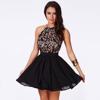 Black High-Waisted Halter-Neck Strappy Back Chiffon Skater Dress with Lace Accent