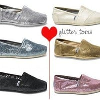 New Toms Womens Glitter Black Gold Ivory White Red Blue Navy Nede Shoes Sz 5-11