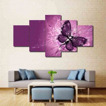 Wall Art Pink Modular Pictures Beautiful Butterfly Printed On Canvas Modern Butterfly Paintings For Living Room Decor With Frame
