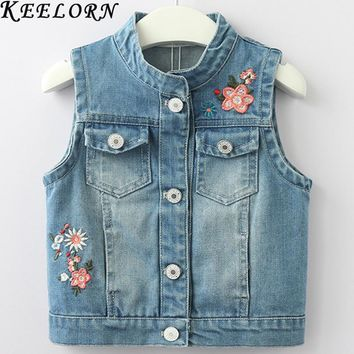 Trendy Keelorn Girls Cowboy Girls Flower Embroidered Embroidered Denim Jacket 2018 New Sleeveless Vest 3-8 Years AT_94_13