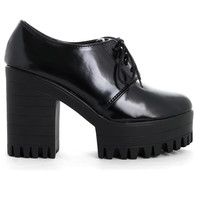 Skywards Chunky Heel Lace-Up Shoes in Black  Black EU36/US5/UK3
