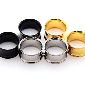 "Set of 3 Pairs Steel Double Flare Tunnels - 5/8"" - 16mm - (Gold, Black, Steel)"
