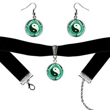 Green Yin Yang Peace Black Velvet Choker & Silver Hypoallergenic Surgical Steel Earrings Set