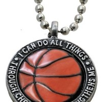 "Forgiven Jewelry - Colorful Orange Basketball Pendant Necklace ""I Can Do All Things Through Christ"":Amazon:Jewelry"