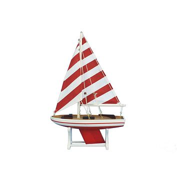 "Wooden It Floats 12"" - Rustic Red Striped Floating Sailboat Model"