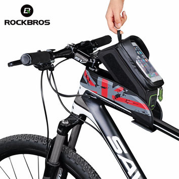 "2016 Rockbros Bicycle Bags 5.8"" 6.0"" Phone Touchscreen MTB Road Bike Bag Parts Cycling Front Frame Handlebar Bag Bolsa Bicicleta"