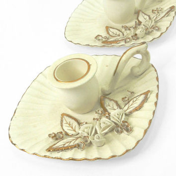 Norcrest candle holders - Ceramic candle holders with roses and gold-trim leaves - Wedding decor