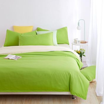 Cool Minimalist Bedding Sets Apple green Duver Quilt Cover Bed Sheet Beige Pillowcase Soft and Comfortable King Queen Full TwinAT_93_12