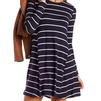 Navy Blue Cmb Striped Trapeze Shift Dress by Charlotte Russe