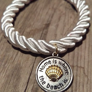 White Nautical Rope - Home Is Where The Beach Is Bracelet