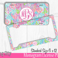 Ocean Pastel Monogram License Plate Frame Holder Metal Wall Sign Tags Personalized Custom Vanity Plate
