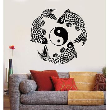 Vinyl Wall Decal Yin Yang Symbol Buddhism Koi Fish Asian Style Stickers Unique Gift (1854ig)