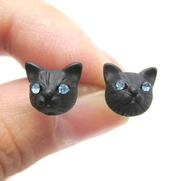 Adorable Tiny Kitty Cat Face Shaped Stud Earrings in Black | DOTOLY