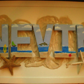 Name Wall Letters - Beach Theme - Surfboard, Ocean, Fish