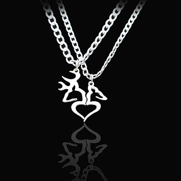 Buck And Doe Heart Pendant Couples Necklace Set