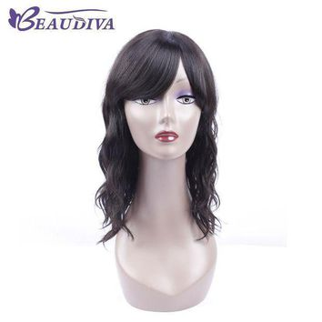 Beaudiva Pre Colored 1b# Natural Color Wavy Human Hair Wigs 18' Human Hair Whole Machine Wigs For Black Women