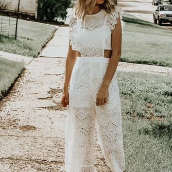 Love Of My Life White Crochet Jumpsuit