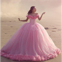 Pink Cloud Ball Gown Wedding Dress Long Tulle Long Sexy Beach Vestido De Noiva Summer Puffy Ruffle Robe De Mariage Mhamad Dress